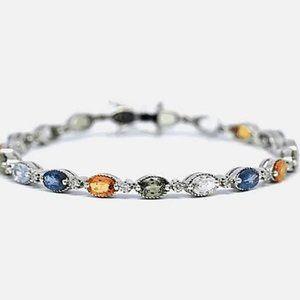 Jewelry - Sapphire Prong Set Tennis Bracelet 6.3 Carats Ston